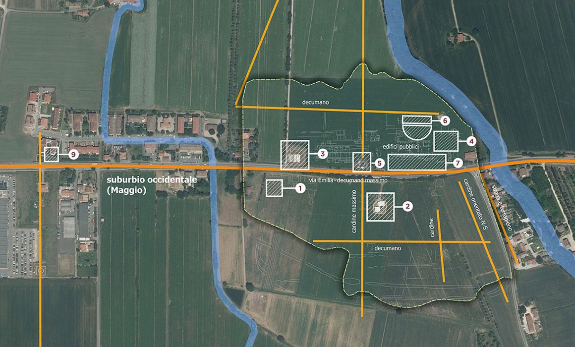 La mappa degli scavi dell'area archeologica di Claterna